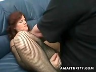Assfucking action with mature woman in fishnet bodystocking