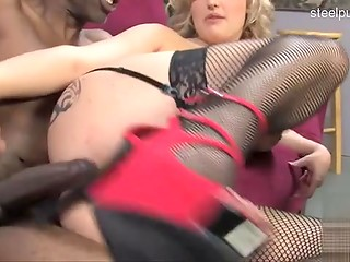 Bisexual man lets his busty blonde girlfriend fuck big dicked black man