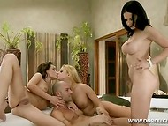 Two brunettes and one blonde babes making hot love to their common boyfriend in the foursome scene 9