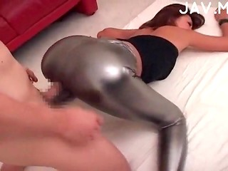 Hot Japanese cutie in high heels fucked without taking off her tight leggings