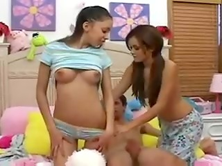 Young Daisy and Alexis sucking one strong dick till cum explosion