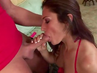 Obedient chick in sexy red lingerie lets this rough man fuck every hole of her slender body