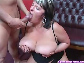 BBW with lovely big bouncing boobies gets screwed and gets her ass spanked until it turns red