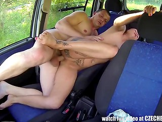 Czech male fucks dirty sluts and young bitches right in the car filming it on the amateur camera