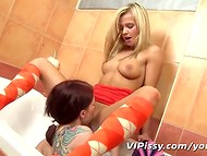Young hotties caressing their tiny pussies in the bathroom