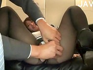 Japanese office girl gets her pantyhose ripped and her hairy pussy fingered