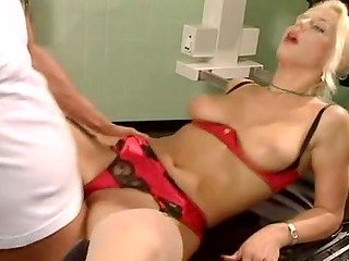 German blonde's doctor's visit turns into very hot double pussy fuck