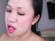 Asian girlfriend takes cock really deep in the throat 11