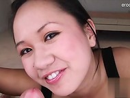 Asian girlfriend takes cock really deep in the throat 8