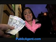 PublicAgent action with brunette Vanessa fucking for cash on the Christmas eve
