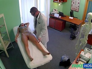 This young and sexy babe needs a deep vaginal examination according doctor with glasses