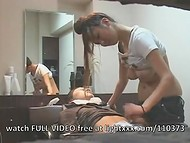 Japanese hairdresser turns on his dick and jerks it off