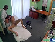 Handsome young doctor examinates young brunette patient's wet holes with his dick and fingers