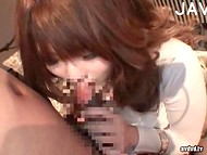 Japanese cutie with giant natural tits makes love to the new fucker 9