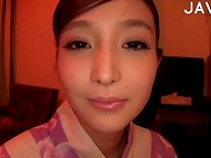 Japanese babe with cute face feel sweet vibrations on her pussy lips 10