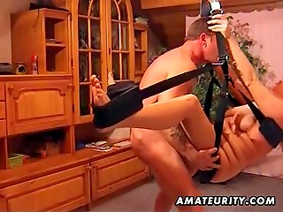 Kinky slutty wife getting her cunt penetrated on a sex swing
