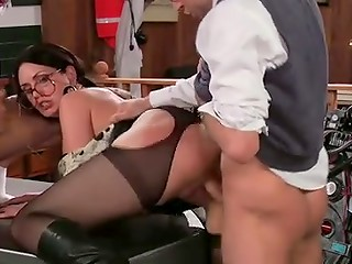 Horny secretary with glasses Sarah Shevon getting screwed by her colleagues