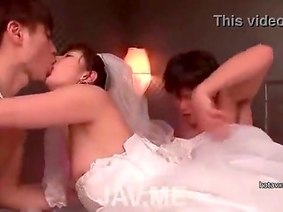 Nasty Japanese girl waited until her wedding night to fuck two guys at once