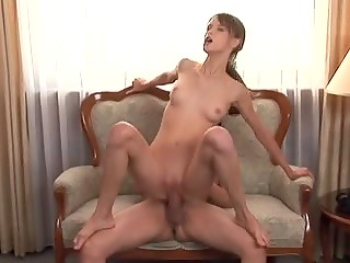 Latvian chick Beata Undine takes fat cock in her little cunt and tiny butthole