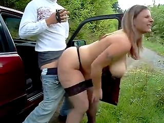 German blonde prostitute with really huge natural boobs fucked hard and filmed on the amateur camera