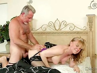 Sexy mature lady Nina Hartley makes hot love to her experienced lover, while her son and his gf are overhearing it