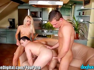 Horny blonde chick takes part in the MMF threesome action with two bisexual boyfriends