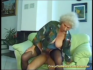 Horny grey haired granny gets her extremely hairy pussy fucked by young dude