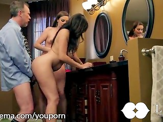Sensual threesome sex scene in the bathroom with two bewitching babes