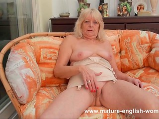 British blonde granny teases us with her shaved snatch and super saggy natural tits