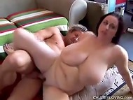 Fat slut Kitty Lee gets hammered by her new sexy boyfriend on a comfy sofa