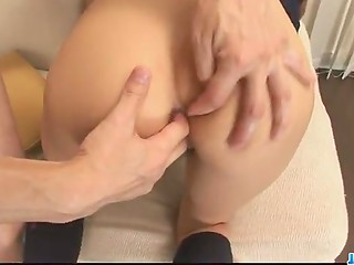Petite Japanese schoolgirl Maya takes a hard double penetration by two Asian dudes