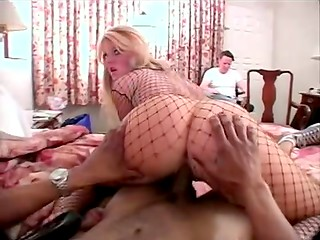 Blonde with bodystocking pleases a black-skinned fellow with a deep blowjob