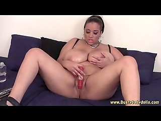 Fatty with big boobies plays with an enormous sex toy and gets entirely satisfied