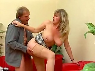 Busty mature blonde gets her hard pierced pussy drilled by amazingly pierced cock