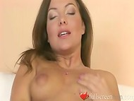 Fascinating brunette using her new sex toy to reach unforgettable pleasure 4