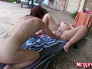 Awesome lesbian chicks trying to reach climax and playing with sex toys outside 6