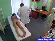 Tattooed MILF came to doctor and felt his erected cock and gentle fingers in her shaved vagina 4