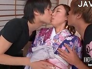 Two curious Japanese fellows stripped Asian girl and began to examine her pretty tits and tiny pussy