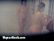 Interesting voyeur video with many busty amateur MILFs in the public shower 8