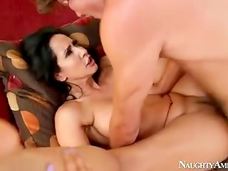 Stunning brunette pornstar has sweet time with young lover by the poolside and in the living room