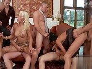 Two shameless MILFs pleasing several men and getts pounded in all possible holes