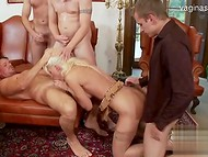 Two shameless MILFs pleasing several men and getts pounded in all possible holes 8