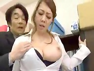 Inspiring story about delicious and busty Japanese secretary that enjoys having sex with a boss 5