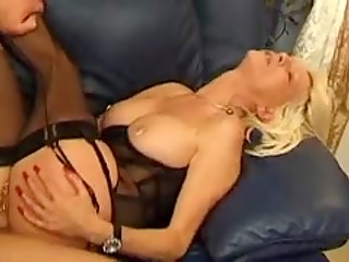Busty mature in sexy stockings and corset is always happy to be fucked like a dirty bitch