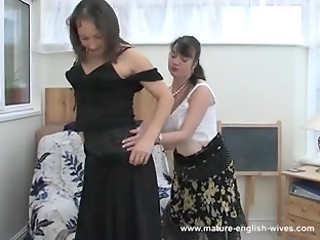 Mature brunette lesbians warm up their hungry pussies and licks hot nipples