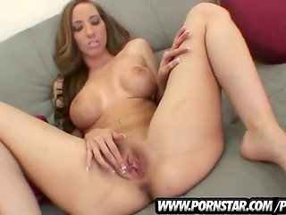 Big titted hottie Kelly Divine caresses her flawless pussy, sucks a cock and gets fucked