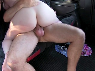 Sexy brunette girl with big natural boobs makes dirty love to the fake taxi driver