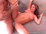 Fascinating busty MILF babe make dirty love to her muscular neighbor