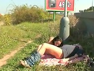 Young slut with cute tits penetrated by her bald partner's wiener at motorway in broad daylight 5