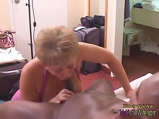 Young black fucker surprises big titted mature blonde with his huge and stiff dick